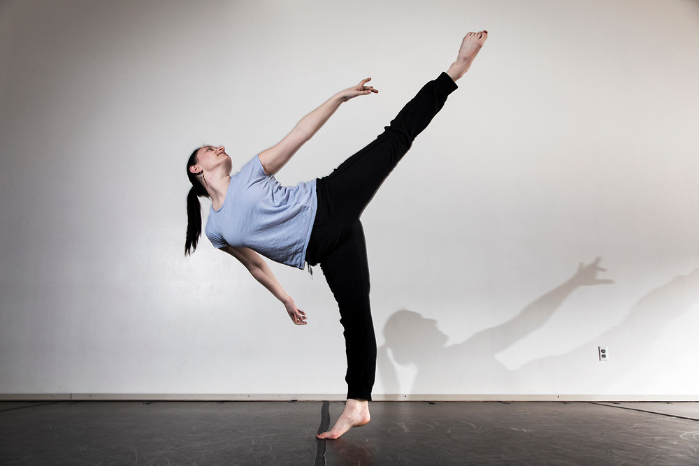 Sara Hollenberg '19 of Stamford Conn., math and dance double major, dances for a photo illustration for a story in the dance studio in Merrill Gymnasium on April 10, 2018.