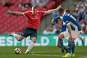 Jon Parkin (York City) shoots and a deflection beats the keeper, however, Aidan Connolly (York City) puts the ball over the line during the FA Trophy match between Macclesfield Town and York City at Wembley Stadium, London, England on 21 May 2017. Photo by Mark P Doherty.