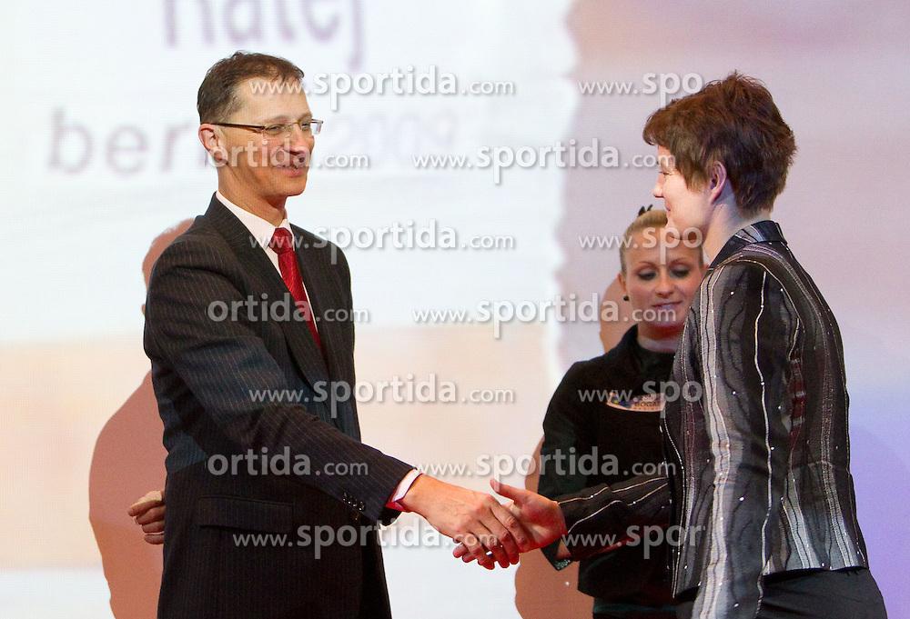 Igor Luksic and Martina Ratej during the Slovenia's Athlete of the year award ceremony by Slovenian Athletics Federation AZS, on November 12, 2008 in Hotel Mons, Ljubljana, Slovenia.(Photo By Vid Ponikvar / Sportida.com) , on November 12, 2010.
