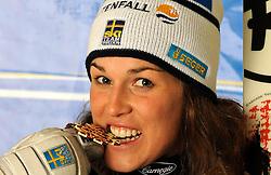 19.02.2011, Gudiberg, Garmisch Partenkirchen, GER, FIS Alpin Ski WM 2011, GAP, Damen, Slalom, im Bild bronze Medaille Maria Pietilae-Holmner (SWE) // bronze Medal Maria Pietilae-Holmner (SWE) during Ladie's Slalom Fis Alpine Ski World Championships in Garmisch Partenkirchen, Germany on 19/2/2011. EXPA Pictures © 2011, PhotoCredit: EXPA/ E. Spiess +++++ ACHTUNG - BILDER DÜRFEN ERST NACH 18.30 UHR PUBLIZIERT WERDEN WARNING - IMAGES MAY NOT BE PUBLISHED UNTIL AFTER 18:30 CLOCK +++++