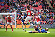 Arsenal Ladies midfielder Vicky Losada rides a challenge during the SSE Women's FA Cup Final match between Chelsea Ladies and Arsenal Ladies at Wembley Stadium, London, England on 14 May 2016. Photo by Nigel Cole