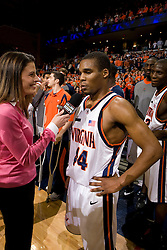 Virginia guard Sean Singletary (44) is interviewed by the media after The Virginia Cavaliers defeated the Maryland Terrapins 91-76 at the University of Virginia's John Paul Jones Arena  in Charlottesville, VA on March 9, 2008.