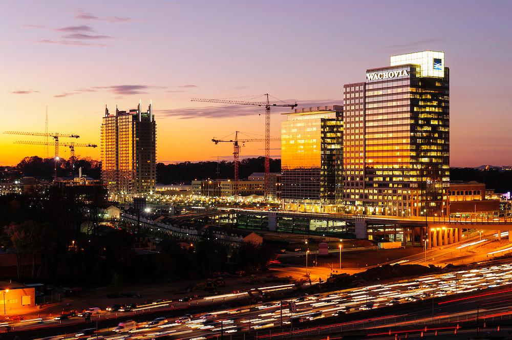 Sunset behind Atlantic Station in Atlanta