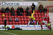 Crawley Town's Gavin Tomlin scores Crawley's second goal during the Sky Bet League 1 match between Swindon Town and Crawley Town at the County Ground, Swindon, England on 21 February 2015. Photo by Shane Healey.