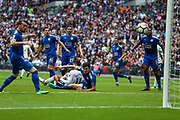Tottenham Hotspur midfielder Erik Lamela's (11) shot is  deflected into the goal by Leicester City defender Christian Fuchs (28) during the Premier League match between Tottenham Hotspur and Leicester City at Wembley Stadium, London, England on 13 May 2018. Picture by Toyin Oshodi.