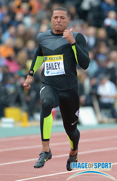 Jul 13, 2012; London, UNITED KINGDOM; Ryan Bailey (USA) finishes second in the 100m in 10.09 in the 2012 Aviva London Grand Prix at the Crystal Palace.