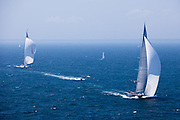 Hanuman and Ranger, J Class, sailing in race 1 during the Newport Bucket Regatta.