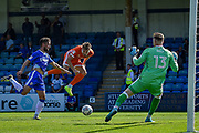 Shrewsbury Town midfielder Alex Rodman (23) heads for goal and scores (0-2) during the EFL Sky Bet League 1 match between Gillingham and Shrewsbury Town at the MEMS Priestfield Stadium, Gillingham, England on 2 September 2017. Photo by Martin Cole.