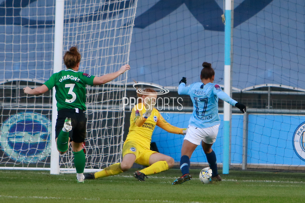 Brighton Womens goalkeeper Sophie Harris (19) saves a shot from Manchester City Women's forward Nikita Parris (17) during the FA Women's Super League match between Manchester City Women and Brighton and Hove Albion Women at the Sport City Academy Stadium, Manchester, United Kingdom on 27 January 2019.