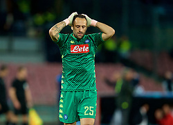 NAPLES, ITALY - Wednesday, October 3, 2018: Napoli's goalkeeper David Ospina looks dejected during the UEFA Champions League Group C match between S.S.C. Napoli and Liverpool FC at Stadio San Paolo. (Pic by David Rawcliffe/Propaganda)