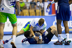 Miha Kavcic of Slovenia during handball match between National teams of France and Slovenia in Final of 2018 EHF U20 Men's European Championship, on July 29, 2018 in Arena Zlatorog, Celje, Slovenia. Photo by Urban Urbanc / Sportida
