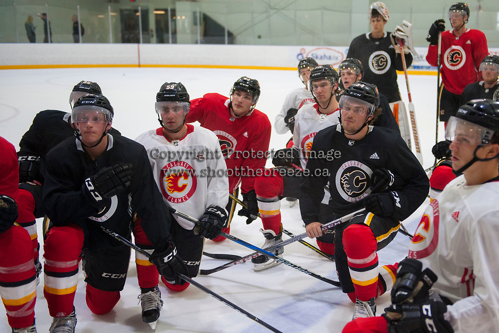 PENTICTON, CANADA - SEPTEMBER 9: Dillon Dube #59 of Calgary Flames kneels on the ice during morning skate on September 9, 2017 at the South Okanagan Event Centre in Penticton, British Columbia, Canada.  (Photo by Marissa Baecker/Shoot the Breeze)  *** Local Caption ***