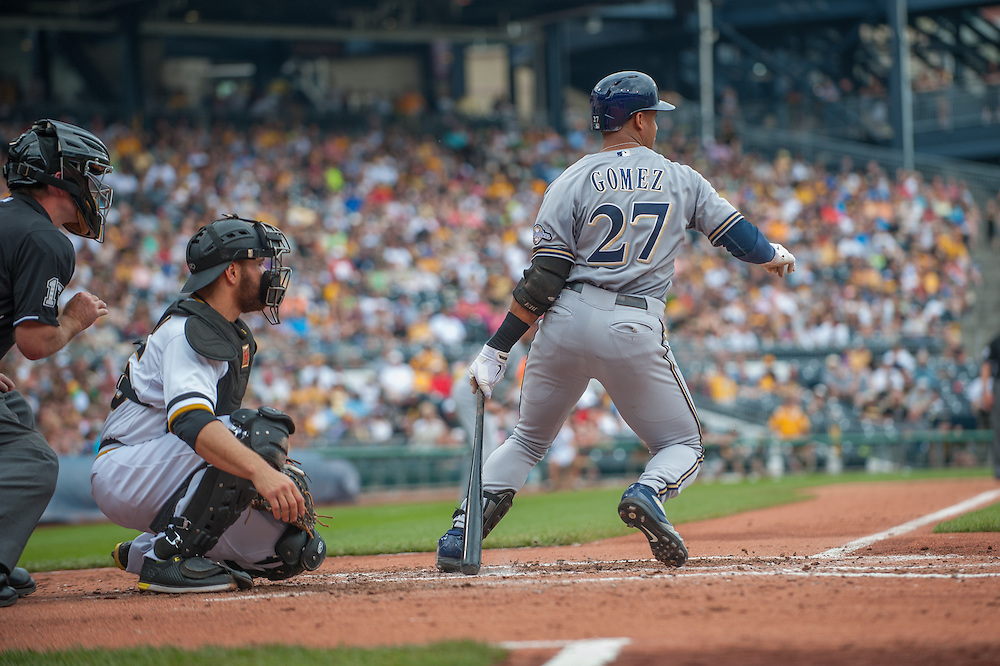 PITTSBURGH, PA - JUNE 08: Carlos Gomez #27  of the Milwaukee Brewers bats during the game against the Pittsburgh Pirates  at PNC Park on June 8, 2014 in Pittsburgh, Pennsylvania. (Photo by Rob Tringali) *** Local Caption *** Carlos Gomez
