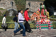 "Our Lady of Guadalupe, also called the Virgin of Guadalupe (Spanish: Nuestra Señora de Guadalupe or Virgen de Guadalupe) is a Roman Catholic icon depicting an apparition of the Virgin Mary. It is Mexico's most beloved religious and cultural image. Our Lady of Guadalupe is known in Mexico as ""La Virgen Morena"". Our Lady of Guadalupe's feast day is celebrated on December 12, commemorating the account of her appearances to Juan Diego on the hill of Tepeyac near Mexico City. Feb. 23, 2008. (ivan gonzalez)."