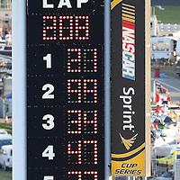 The scoreboard shows Trevor Bayne driving the Motorcraft/Quick Lane Ford as the winner after the Daytona 500 Sprint Cup race at Daytona International Speedway on February 20, 2011 in Daytona Beach, Florida. (AP Photo/Alex Menendez)