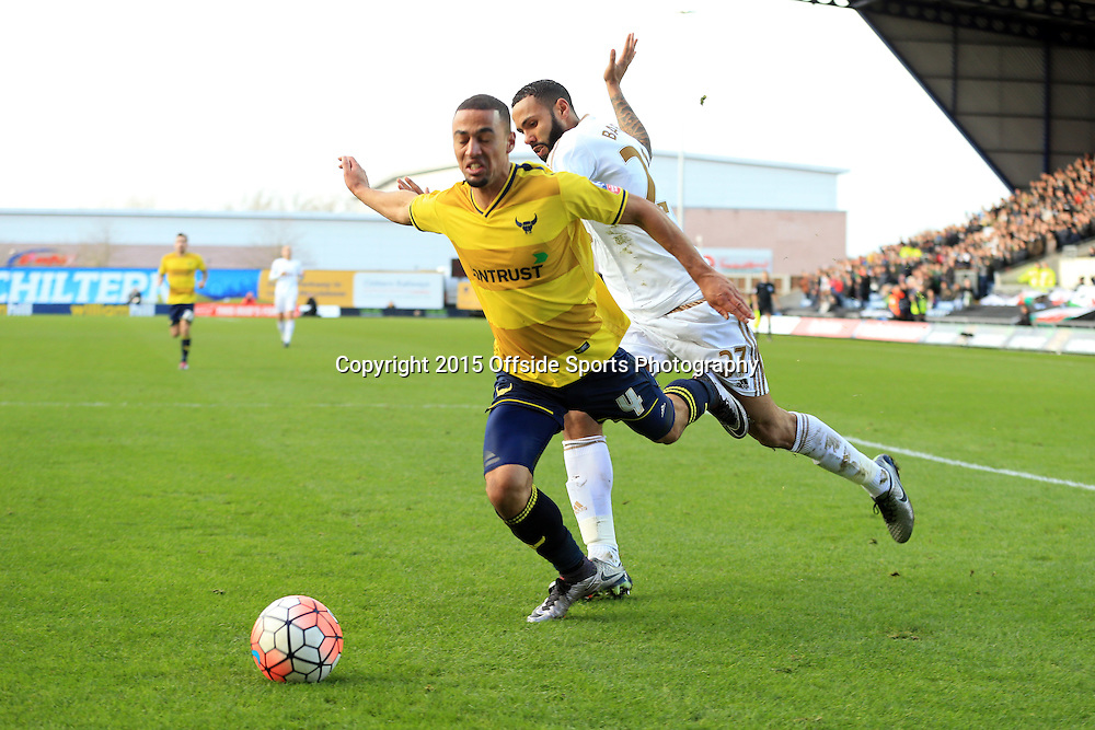 10 January 2016 - The Emirates FA Cup - 3rd Round - Oxford United v Swansea City - Kemar Roofe of Oxford United in action with Kyle Bartley of Swansea City - Photo: Marc Atkins / Offside.