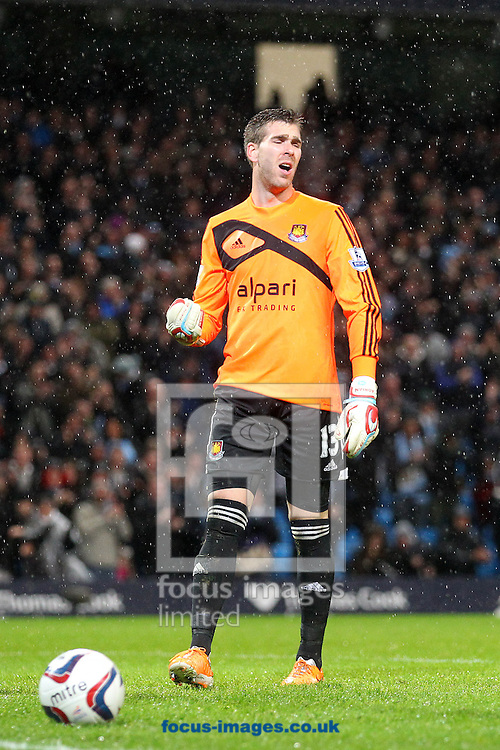 Picture by Paul Chesterton/Focus Images Ltd +44 7904 640267<br /> 08/01/2014<br /> Adrian of West Ham looks dejected after conceding a 3rd goal during the Capital One Cup Semi Final 1st Leg match at the Etihad Stadium, Manchester.