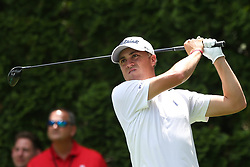 June 22, 2018 - Cromwell, Connecticut, United States - Justin Thomas tees off the 9th hole during the second round of the Travelers Championship at TPC River Highlands. (Credit Image: © Debby Wong via ZUMA Wire)