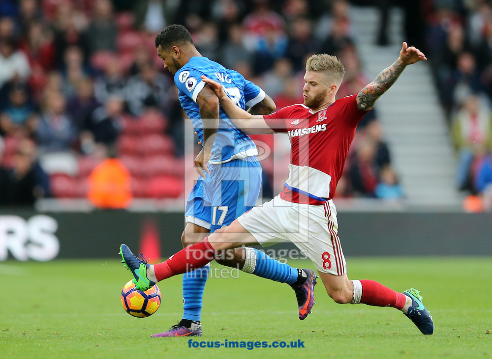 Adam Clayton (r) of Middlesbrough and Joshua King of Bournemouth during the Premier League match at the Riverside Stadium, Middlesbrough<br /> Picture by Simon Moore/Focus Images Ltd 07807 671782<br /> 29/10/2016