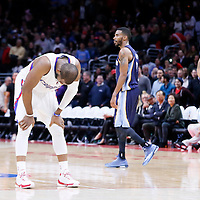 23 February 2015: Los Angeles Clippers guard Chris Paul (3) looks dejected after a last possession turnover during the Memphis Grizzlies 90-87 victory over the Los Angeles Clippers, at the Staples Center, Los Angeles, California, USA.