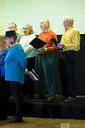 The Glyde Ins performing in the St Mathews Hall, Guildford, as part of the 2018 Guildford Songfest