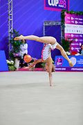 Jovenin Axelle during the qualification of the ball at the Pesaro World Cup 2018.<br /> She is a French gymnast born in Lille in 2000. Her dream is to participate in the 2020 Olympic Games in Tokyo.