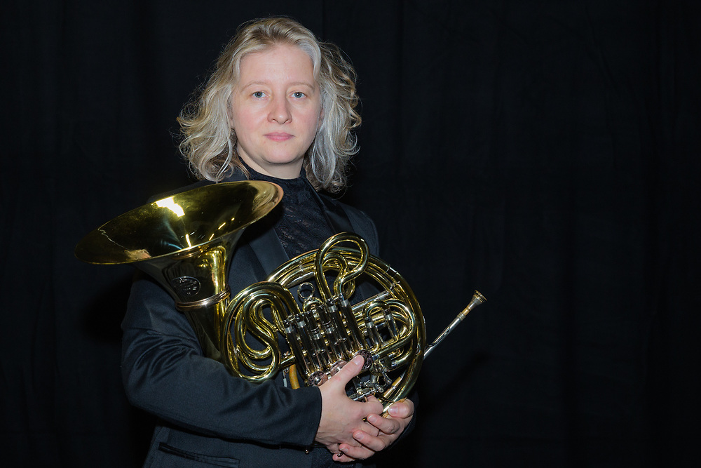 Katrina Lauder, Horn player on Sunday 26 August 2018 at the Royal Hall. Photo by Jane Stokes