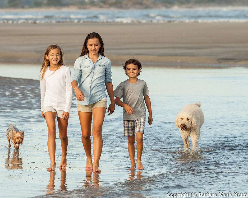 Three children walk in the surf with their dogs.