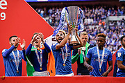 Portsmouth celebrate winning the EFL Checkatrade Trophy during the EFL Trophy Final match between Portsmouth and Sunderland at Wembley Stadium, London, England on 31 March 2019.