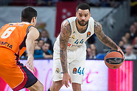Real Madrid Jeffery Taylor and Valencia Basket Alberto Abalde during Turkish Airlines Euroleague match between Real Madrid and Valencia Basket at Wizink Center in Madrid, Spain. December 19, 2017. (ALTERPHOTOS/Borja B.Hojas)