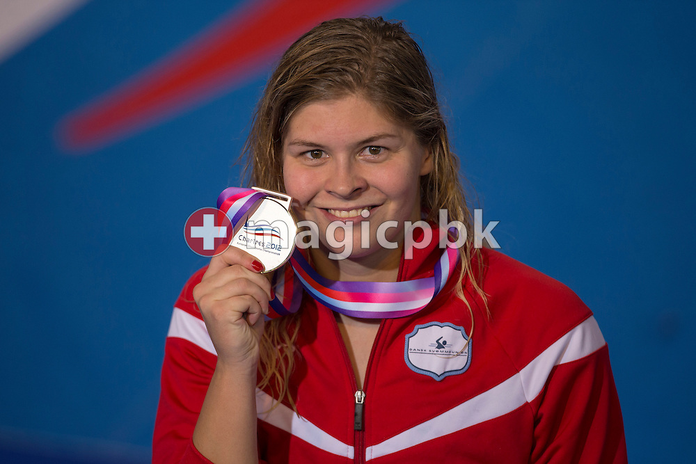 Lotte FRIIS of Denmark poses with her silver medal after finishing second in the women's 400m Freestyle Final during the 16th European Short Course Swimming Championships held at the aquatic complex L'Odyssee in Chartres, France, Saturday, Nov. 24, 2012. (Photo by Patrick B. Kraemer / MAGICPBK)
