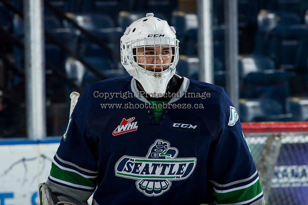 KELOWNA, BC - JANUARY 30: Roddy Ross #1 of the Seattle Thunderbirds warms up against the Kelowna Rockets at Prospera Place on January 30, 2019 in Kelowna, Canada. (Photo by Marissa Baecker/Getty Images)