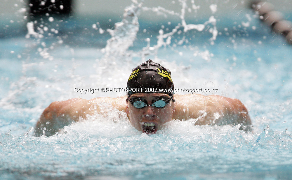 Jackson Arlidge. New Zealand Swimming Spring Competition. Wellington Regional Aquatic Centre, Wellington, New Zealand. Tuesday 25 September 2007. Photo: Hagen Hopkins/PHOTOSPORT