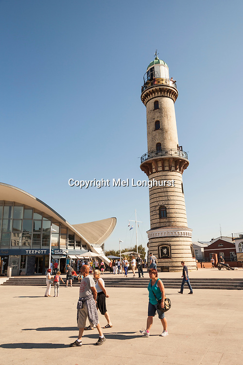The lighthouse and Teepott Restaurant, Warnemunde, Germany