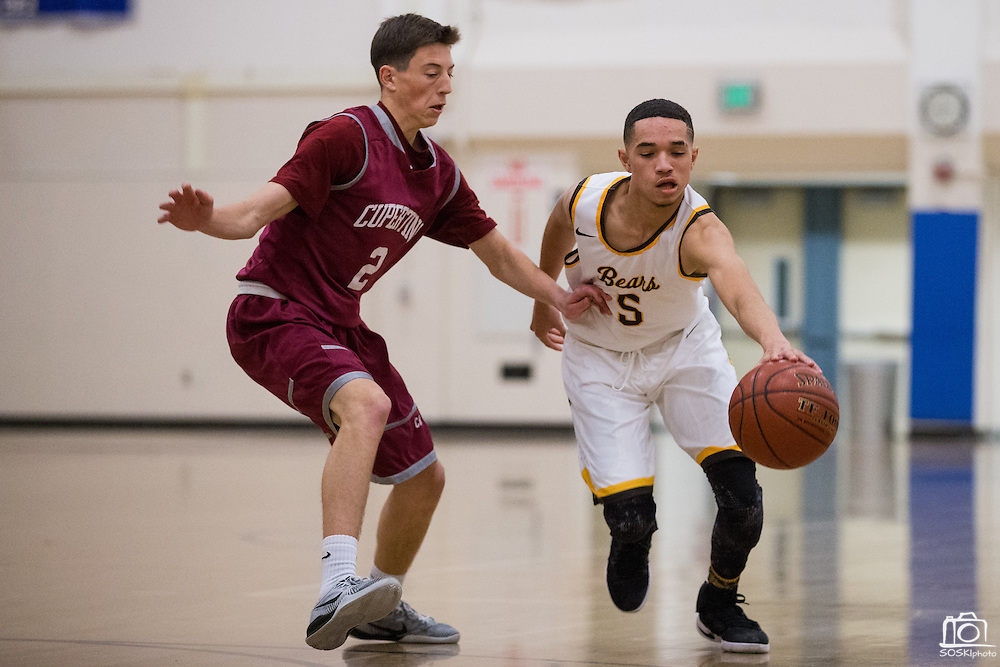 Mission Bears guard Jayden Foston (5) pushes the ball down the court against Cupertino during the Fukushima Invitational at Independence High School in San Jose, Calif., on December 7, 2016. (Stan Olszewski/Special to S.F. Examiner)