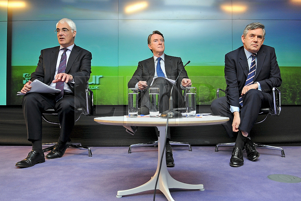 19/04/2010 Alistair Darling, Peter Mandelson and Gordon Brown at a Labour Party press conference on the economy held today at Bloomberg in Finsbury Square London