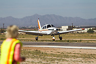 Spot landing contest on April 1, 2017 at Ak-Chin Regional Airport near Maricopa, AZ.  Some of the 99s camped overnight and were joined by Andy Estes of Desert Rat Aviation and Tim Costello, airport manager.<br /> <br /> Observer anticipates a spot landing contestant.