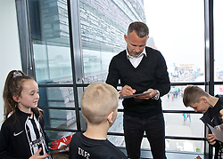 CARDIFF, WALES - Wednesday, May 29, 2019: Wales' manager Ryan Giggs meets young players before a press conference at the Wales Millennium Centre during the Urdd National Eisteddfod to announce the squad for the forthcoming UEFA Euro 2020 Qualifying Group E matches for Wales against Croatia and Hungary. (Pic by David Rawcliffe/Propaganda)