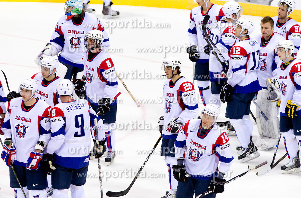 Players of Slovenia after the ice-hockey match between Austria and Slovenia of Group G in Relegation Round of IIHF 2011 World Championship Slovakia, on May 7, 2011 in Orange Arena, Bratislava, Slovakia. Austria defeated Slovenia 3-2. (Photo By Vid Ponikvar / Sportida.com)