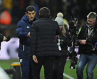 Football - 2017 / 2018 Premier League - Watford vs. Chelsea<br /> <br /> Watford manager,Javi Gracia  consoles Antonio Conte at the final whistle at Vicarage Road.<br /> <br /> COLORSPORT/ANDREW COWIE