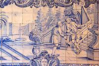 Portugal, Lisbonne, quartier de l'Alfama, monastère de Saint-Vincent de Fora ou Igreja de São Vicente de Fora, azulejos illustrant les Fables de La Fontaine, Le Jardinier et Son Seigneur // Portugal, Lisbon, Alfama, St Vincent de Fora monastery, Igreja de São Vicente de Fora, Historical azulejos, the blue-glazed ceramic tile, famous in the area, depict the fables of La Fontaine, The Gardener and His Master