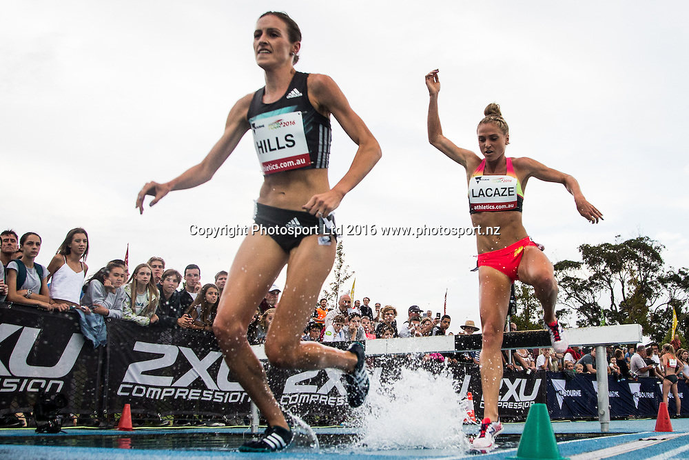 Madeline hills being chased by Genevieve Lacaze in the womens Steeplechase during the IAAF world Challenge Athletics event at Lakeside Stadium. Saturday 5th March 2016. Copyright Photo. Brendon Ratnayake / www.photosport.nz