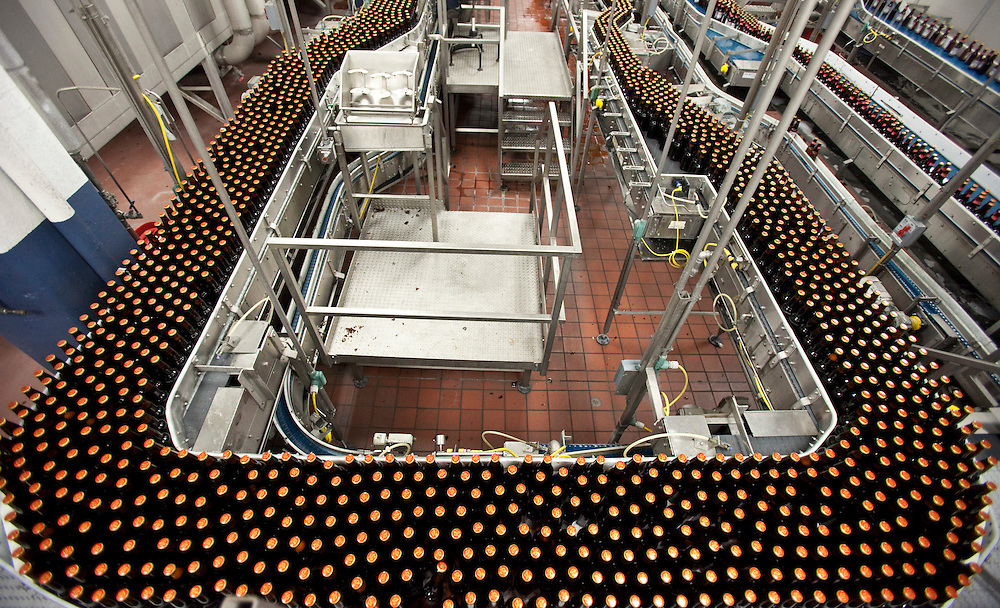 London, Ontario ---11-04-19--- Freshly filled bottles await labelling at Labatt London Brewery April 19, 2011. Labatt has implemented several technologies to help conserve water at it's London facility.<br /> GEOFF ROBINS The Globe and Mail