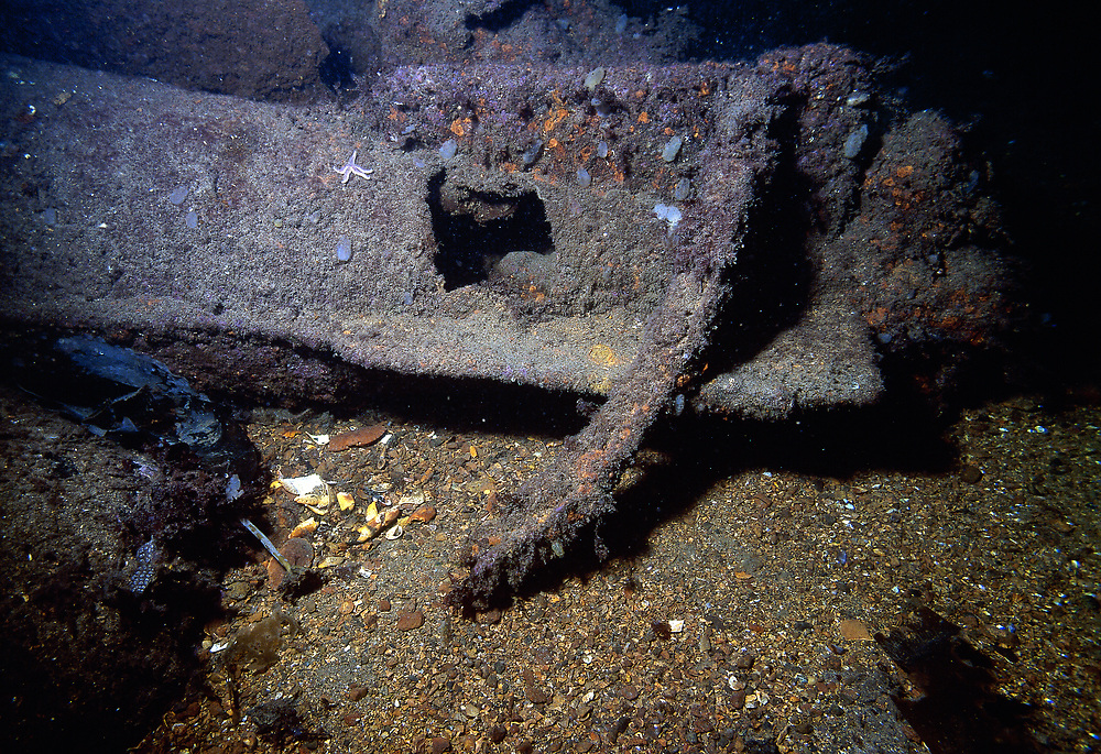 The propeller of one of the torpedoes on the Molch midget submarine.   Location: Norway