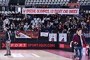 Striscione Special Olympics<br /> Virtus Roma - Zeus Energy Group Rieti<br /> Campionato Basket LNP 2018/2019<br /> Roma 02/12/2018<br /> Foto Gennaro Masi / Ciamillo-Castoria