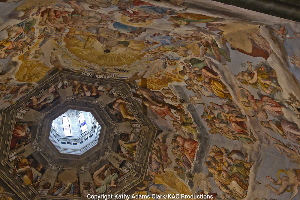 Paintings on the dome of the Basilica Santa Maria del Fiore, in Florence, Firenze, Italy.