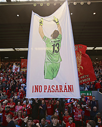LIVERPOOL, ENGLAND - Sunday, May 12, 2019: A Liverpool supporters' flag featuring goalkeeper Alisson Becker on Spion Kop during the final FA Premier League match of the season between Liverpool FC and Wolverhampton Wanderers FC at Anfield. (Pic by David Rawcliffe/Propaganda)