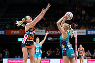 SYDNEY, NSW - JUNE 22: Joanna Weston of the Vixens passes the ball over the head of Caitlin Bassett of the Giants during the round 9 Super Netball match between the Giants and the Vixens at Quaycentre on June 22, 2019 in Sydney, Australia. (Photo by Speed Media/Icon Sportswire)