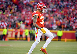 Jan 19, 2020; Kansas City, Missouri, USA; Kansas City Chiefs strong safety Tyrann Mathieu (32) celebrates after a play during the game against the Tennessee Titans at Arrowhead Stadium. Mandatory Credit: Denny Medley-USA TODAY Sports