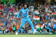 Krunal Pandya celebrates taking his second wicket in an over. T20 international, Australia v India. Sydney Cricket Ground, NSW, Australia, 25 November 2018. Copyright Image: David Neilson / www.photosport.nz